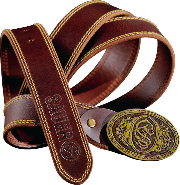 Leather belt with buckle brown